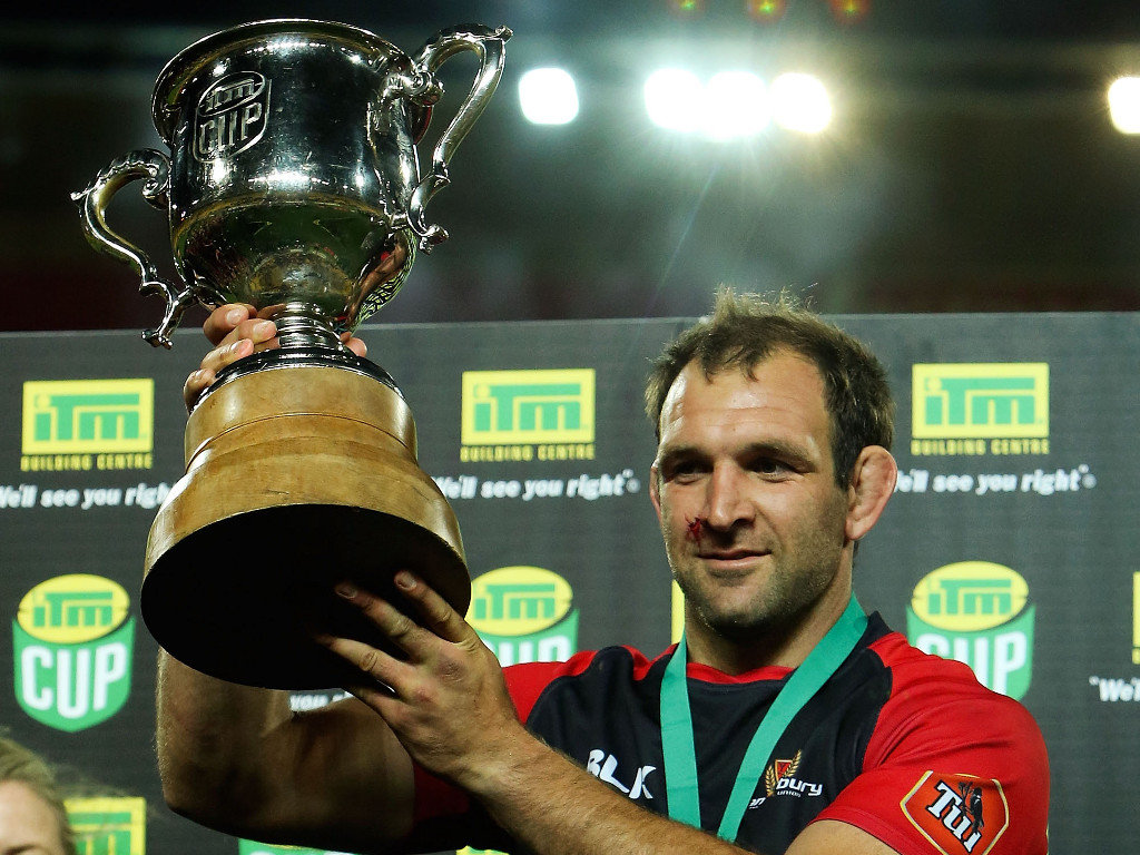 With the spoils of victory: George Whitelock shows off the ITM Cup