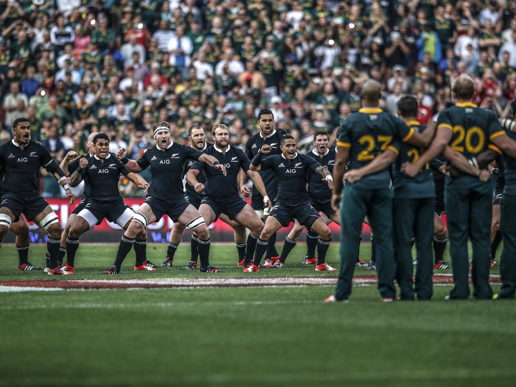 Getting warmed up: The Boks stare down the All Blacks' haka