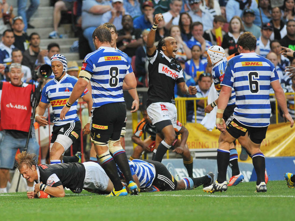 Victory sealed: Charl McLeod grabs his second try