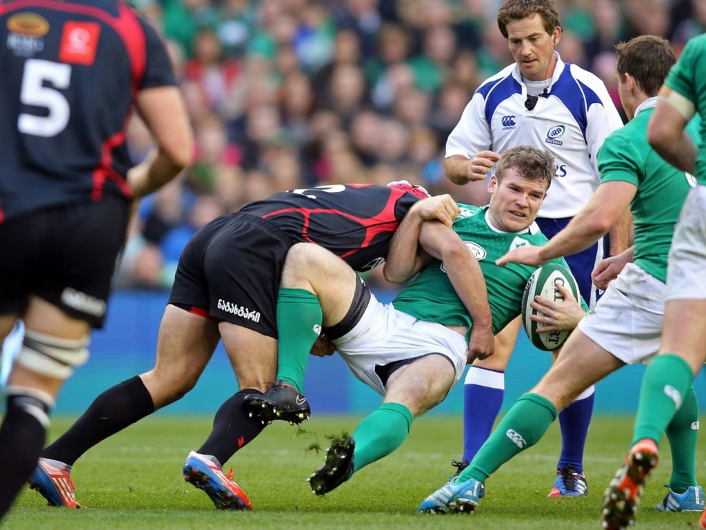Gordon D'Arcy hit hard as the defence holds