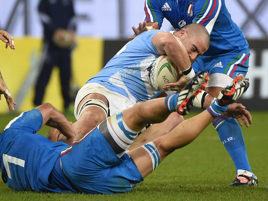 Brought down: Argentina flanker Facundo Isa
