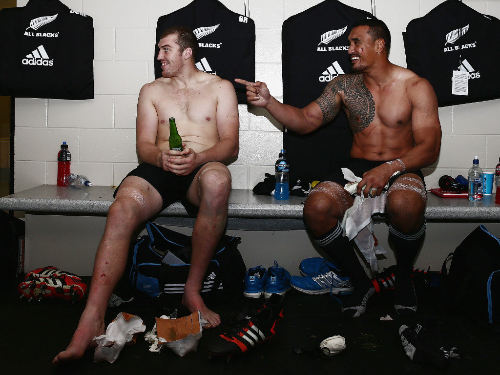 Relaxing with Jerome Kaino after beating England