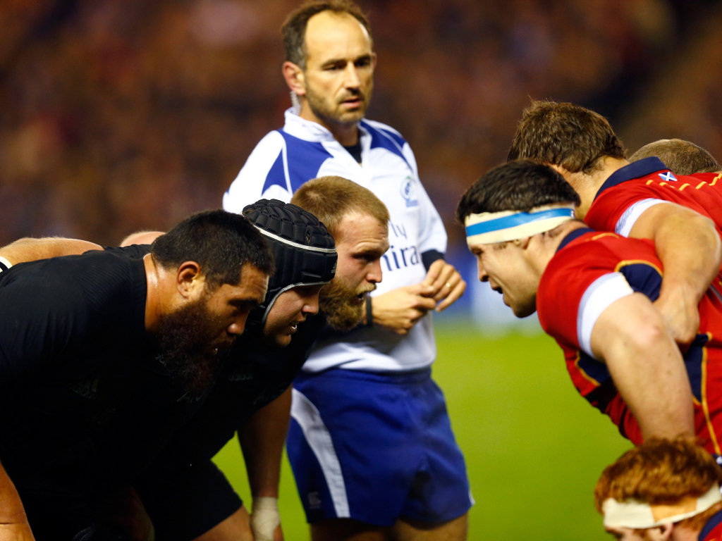Focused: The two front rows at scrum-time