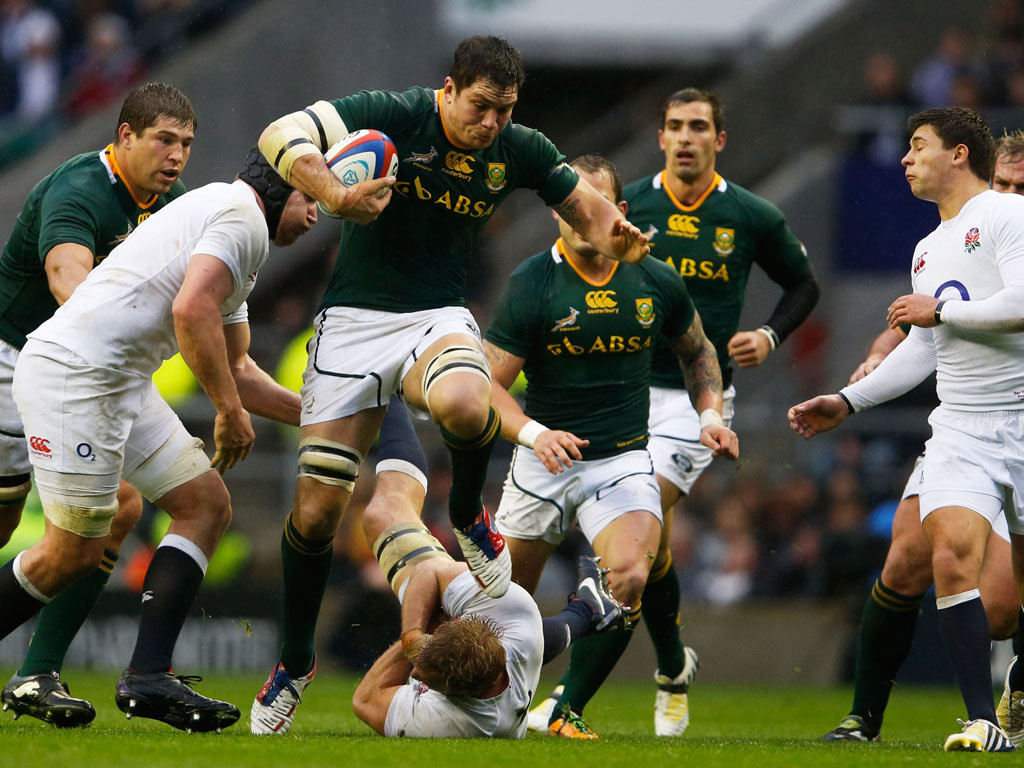 Out of my way: Francois Louw takes on England's defence