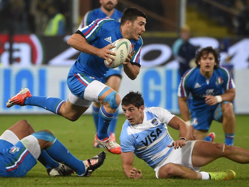 Skipping through: Italy scrum-half Edoardo Gori
