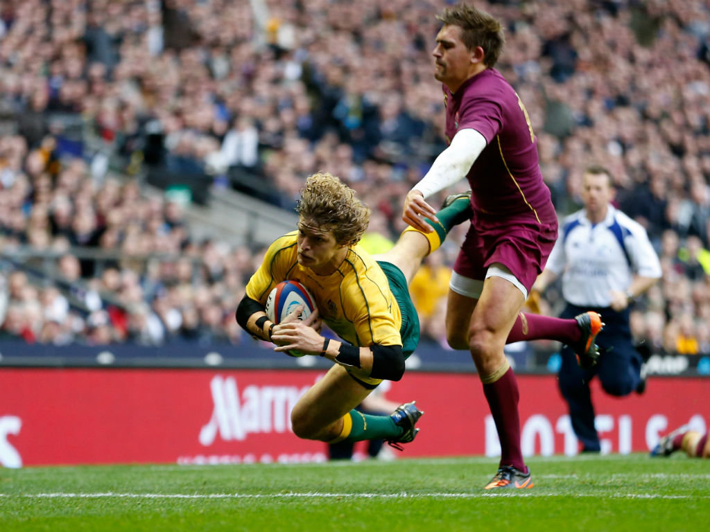 Nick Cummins' try helped Australia to victory at Twickenham in 2012