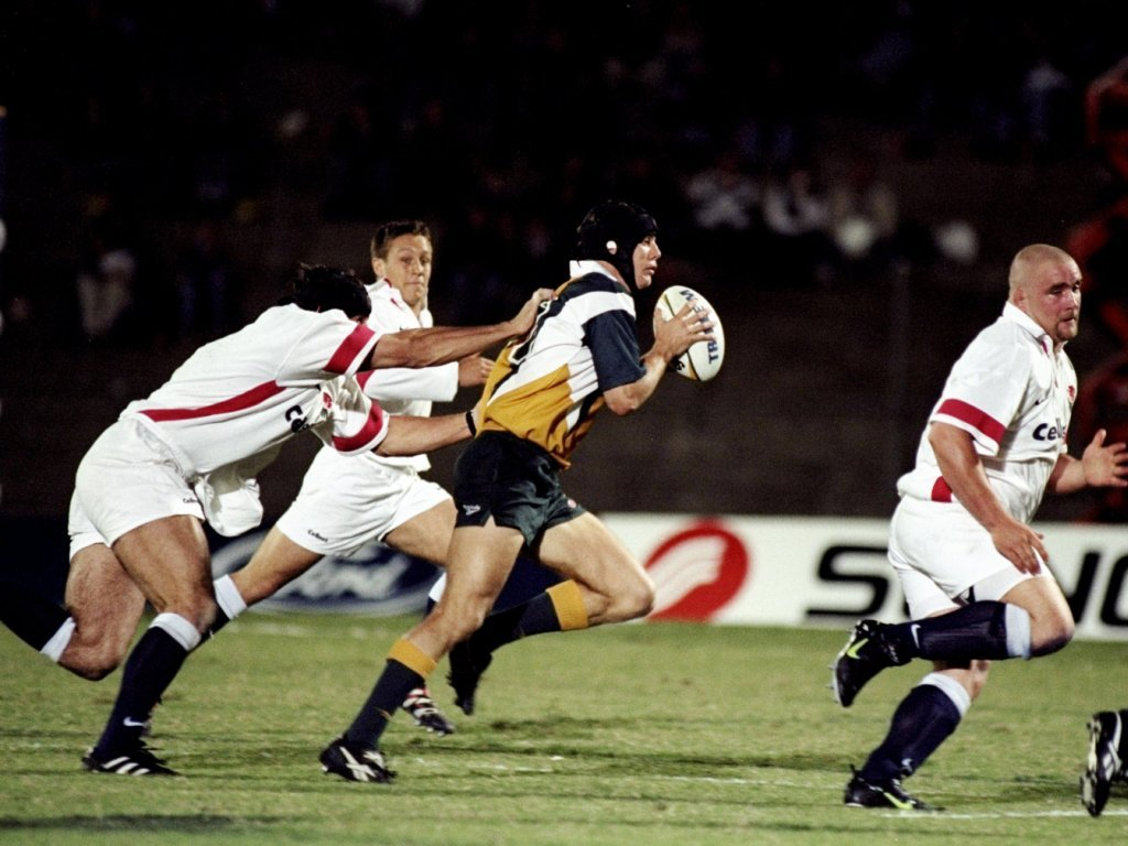 Stephen Larkham scored a hat-trick in a 76-0 win in Brisbane in 1998 on the Tour of Hell