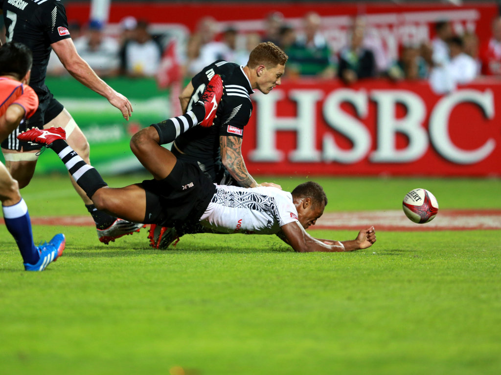 Try-time!: Fiji's Akosita Ravato scores in the third and fourth place play-off against New Zealand