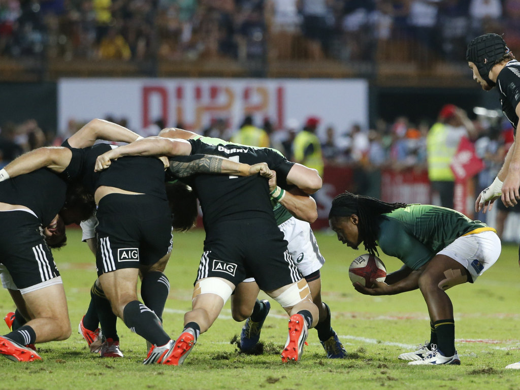 Branco du Preez prepares to feed a scrum during South Africa's semi-final win over New Zealand