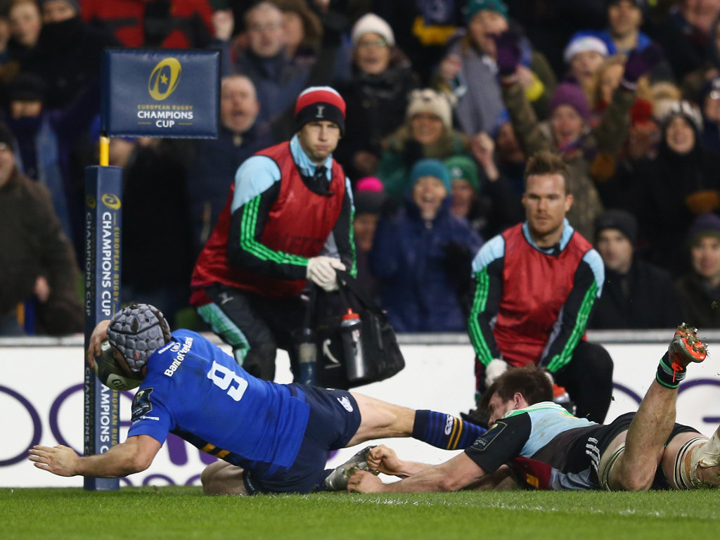 Isaac Boss score for Leinster on the half-hour mark