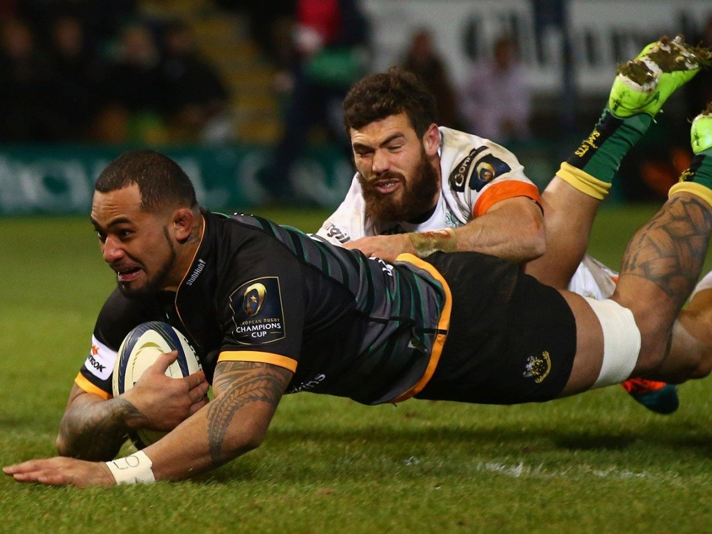Samu Manoa scored a second-half hat-trick for Northampton against Treviso