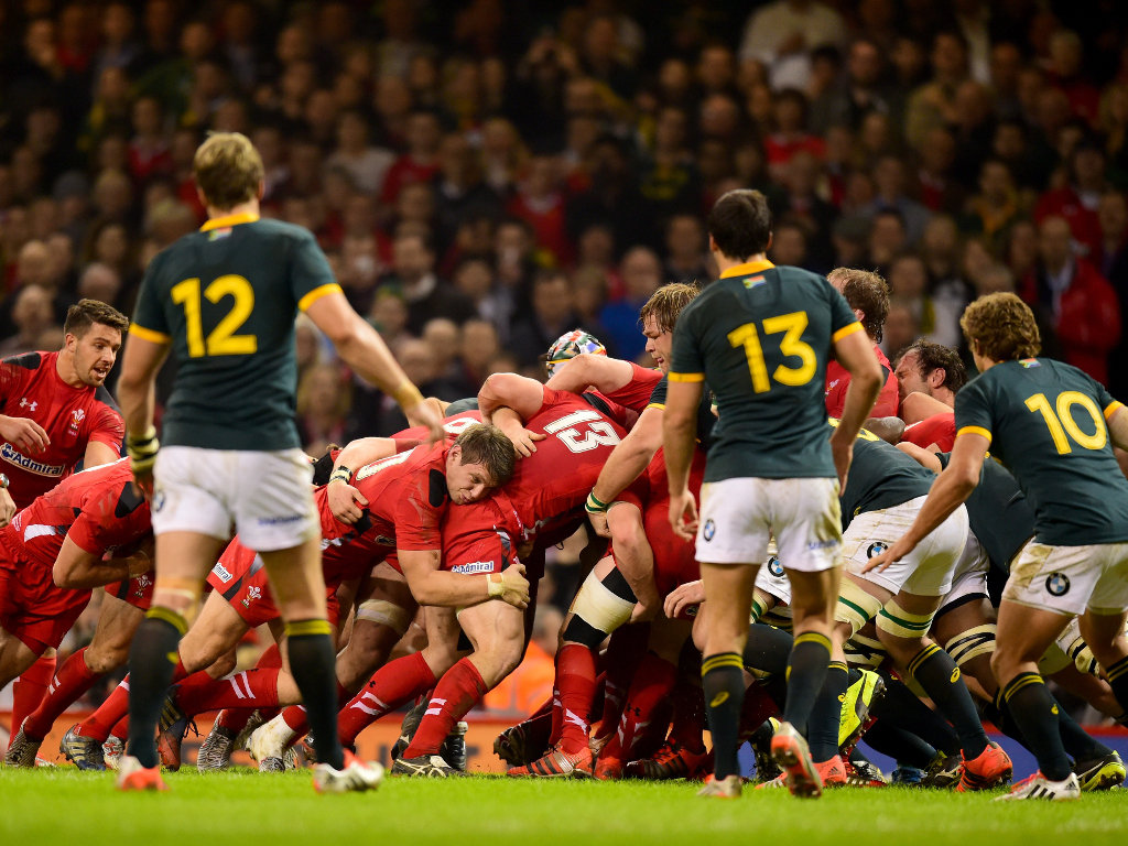On the drive: Wales' backs join their forwards in a maul close to the Boks' try-line