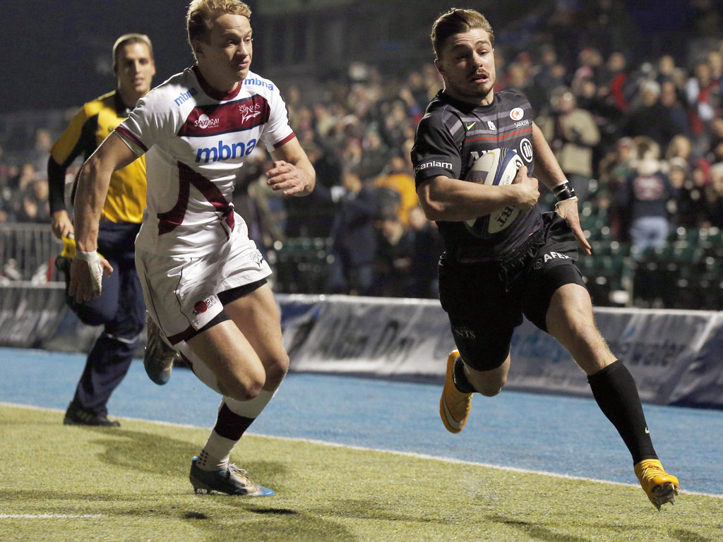 Ben Ransom scored one of three Saracens tries against Sale
