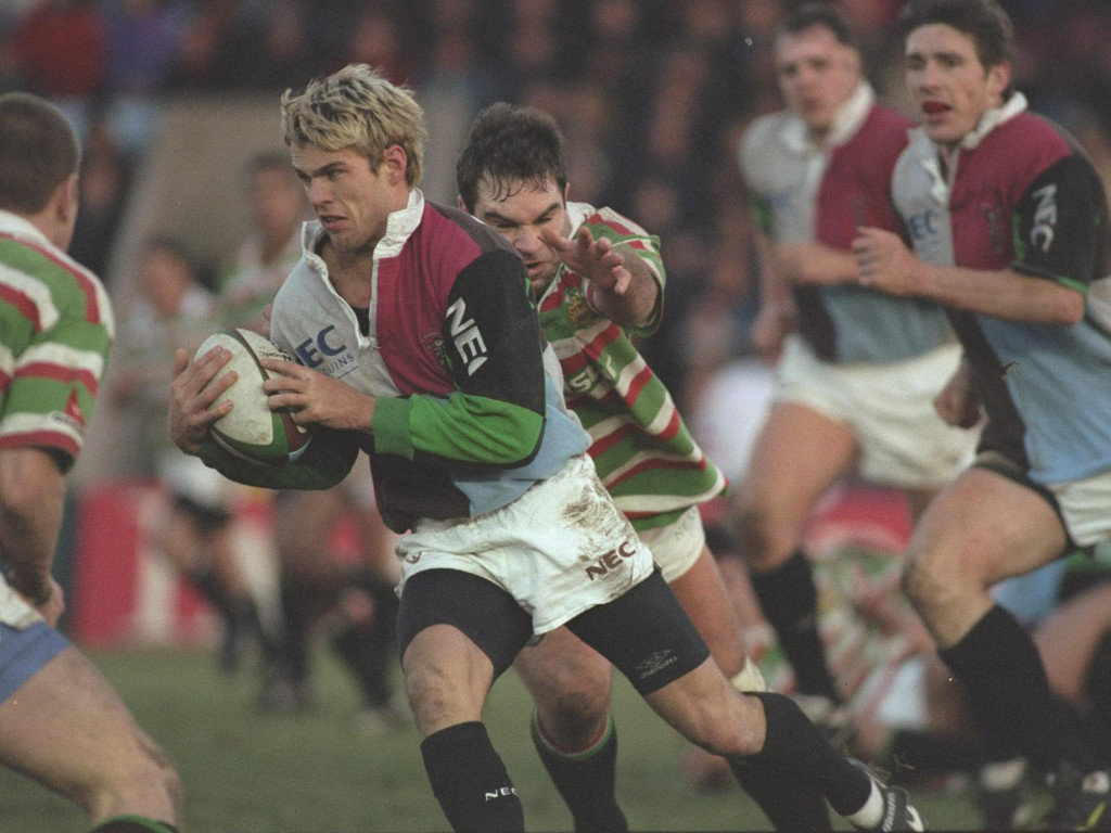 1996 Gary Connolly of Harlequins with ball evades a tackle from Matt Poole Leicester