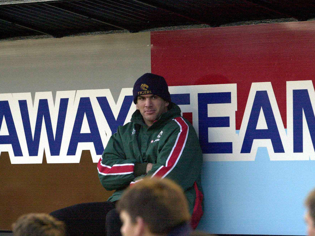 2001 Martin Johnson of Leicester watches from the stands during the Harlequins v Leicester