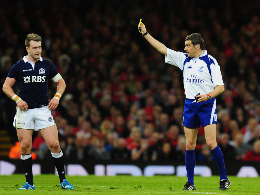 Stuart Hogg receives a red card after just 22 minutes of Scotland's defeat to Wales