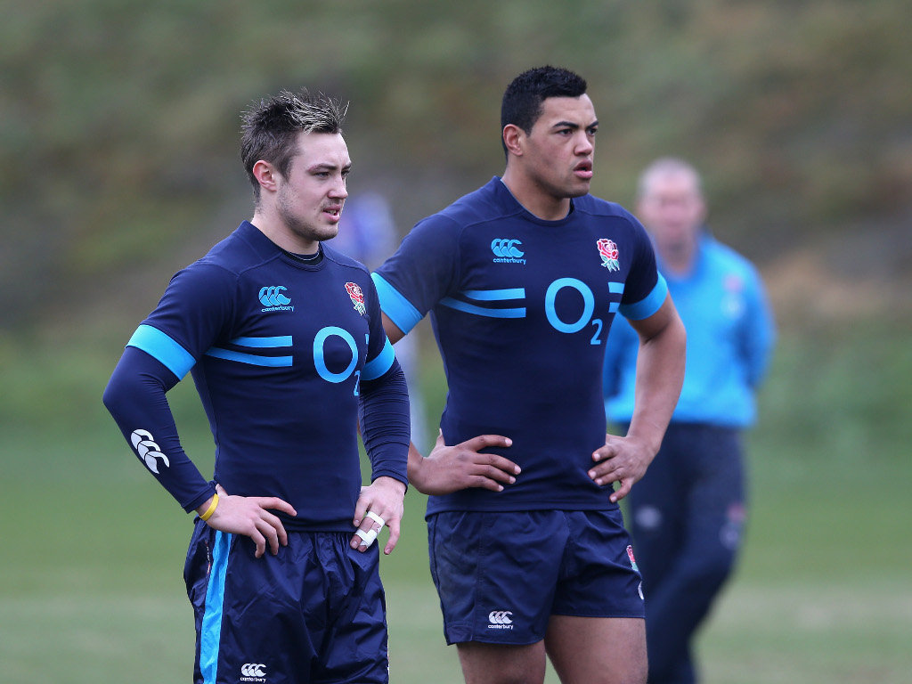 Jack Nowell and Luther Burrell preparing for their debuts in England's Six Nations opener against France