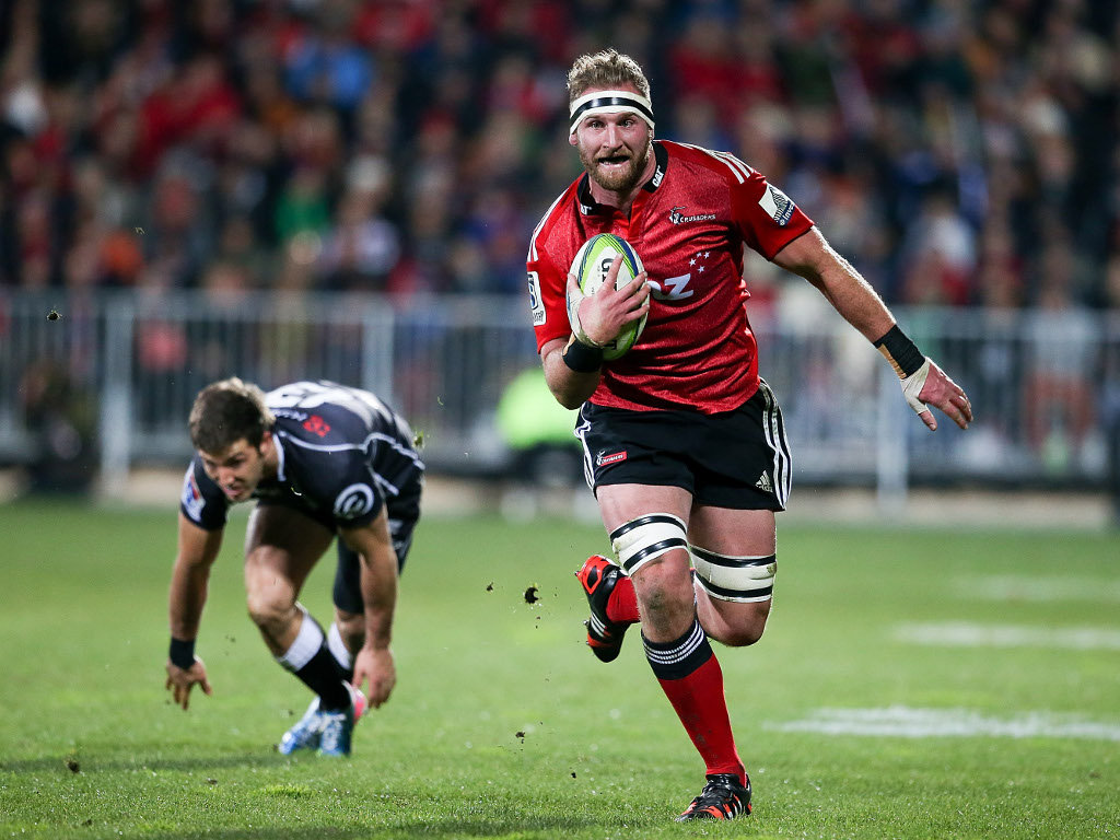 Kieran Read heads towards the try-line during the Crusaders' semi-final win over the Sharks