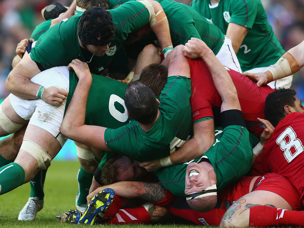 Paul O'Connell is caught at the bottom of a ruck during Ireland's win over defending champions Wales