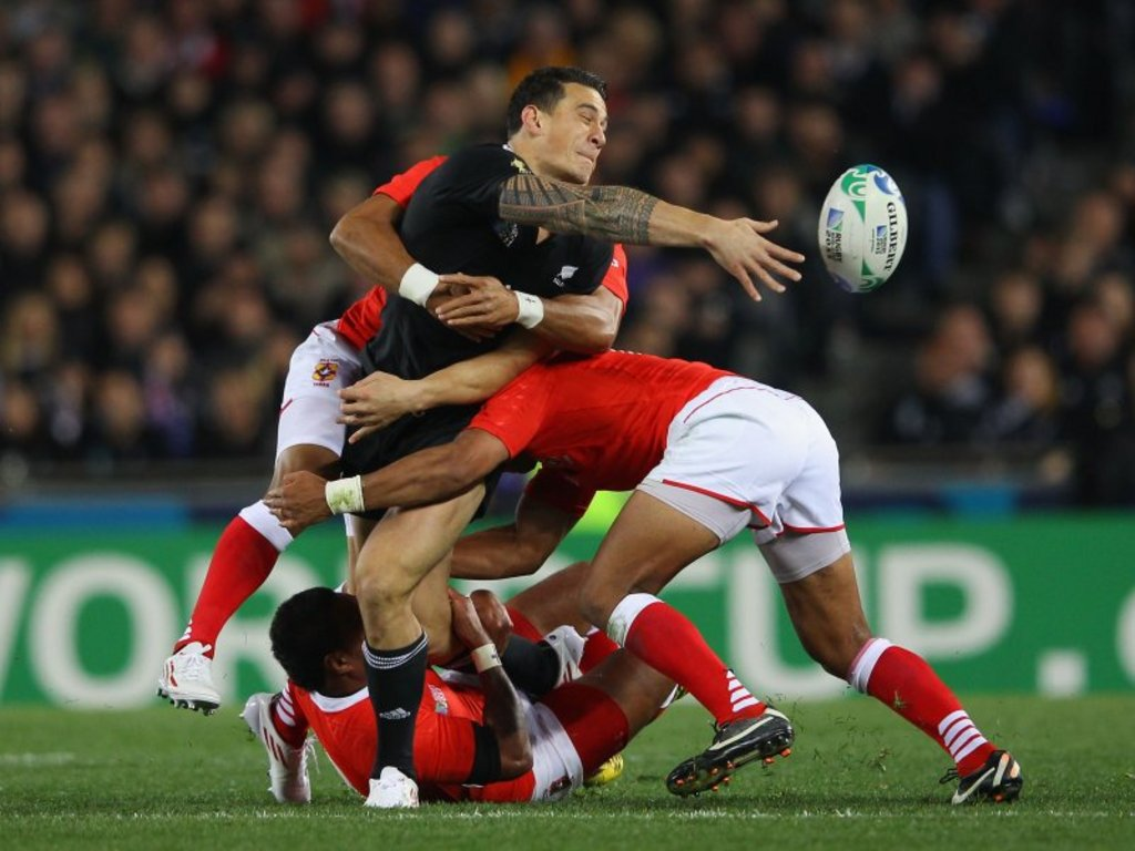 Sonny Bill Williams: An off-load under pressure. No surprise there...