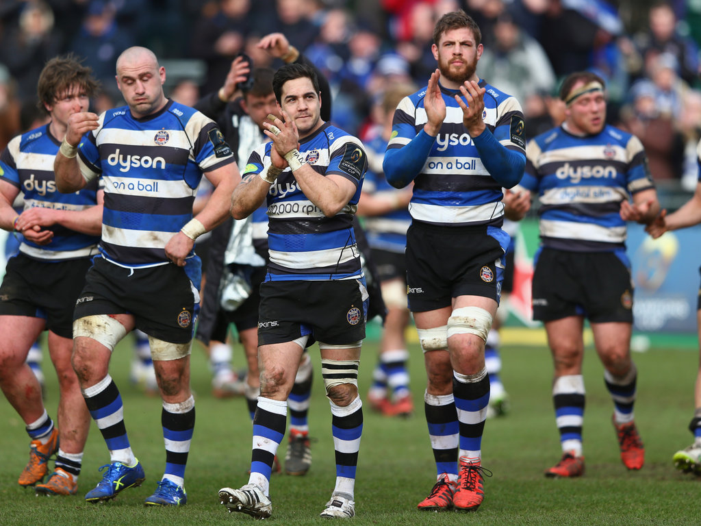All smiles: Bath's players at the final whistle