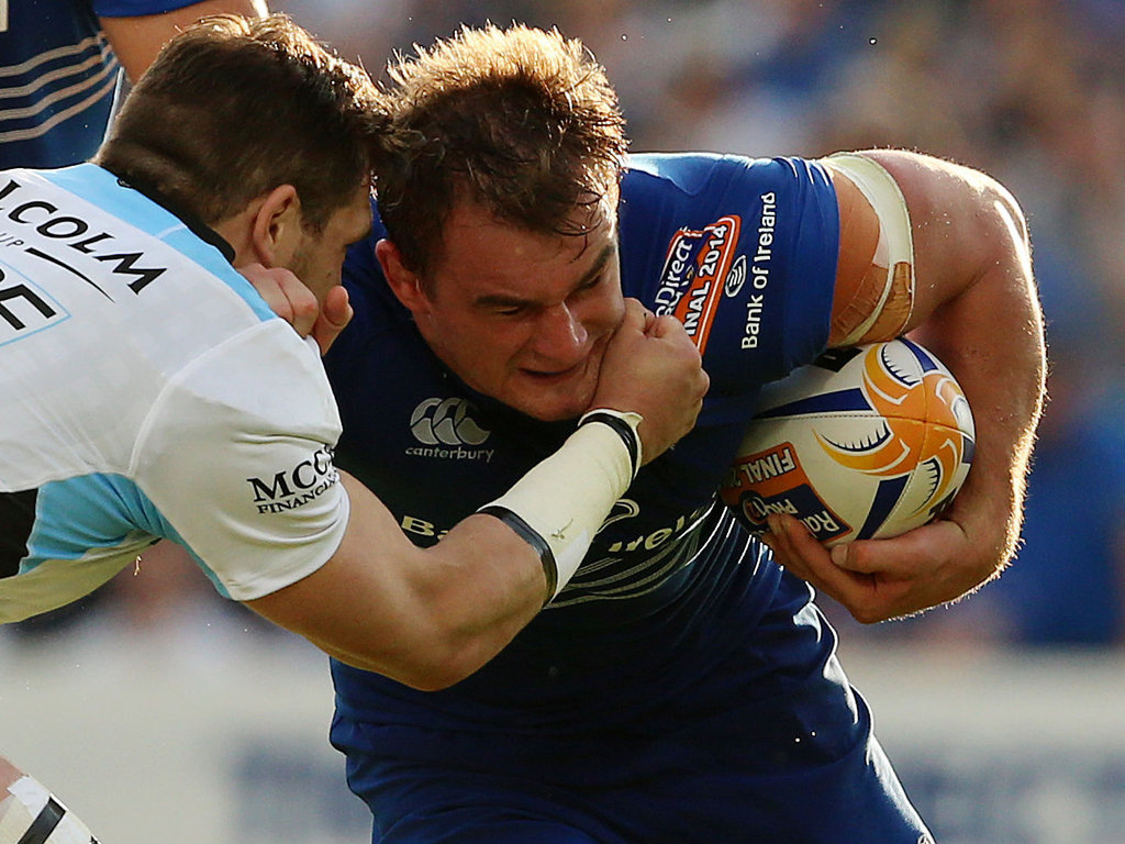 Sean Lamont of Glasgow and Leinster's Rhys Ruddock battle for possession in the PRO12 Final