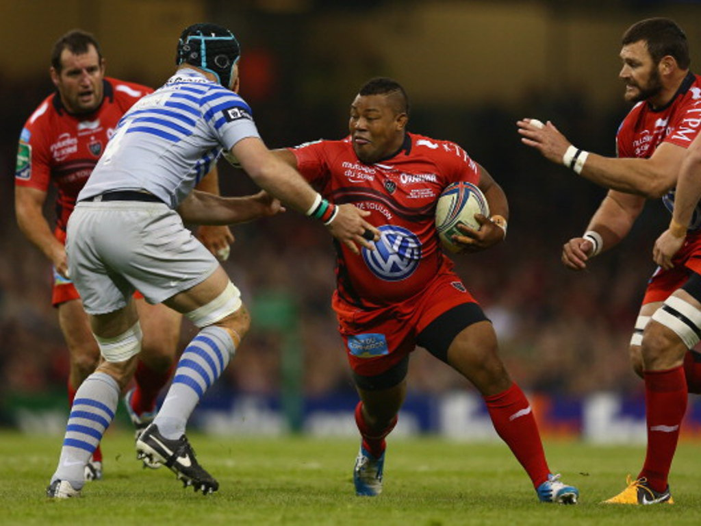 Toulon's Steffon Armitage takes on the Saracens defence in the Heineken Cup Final