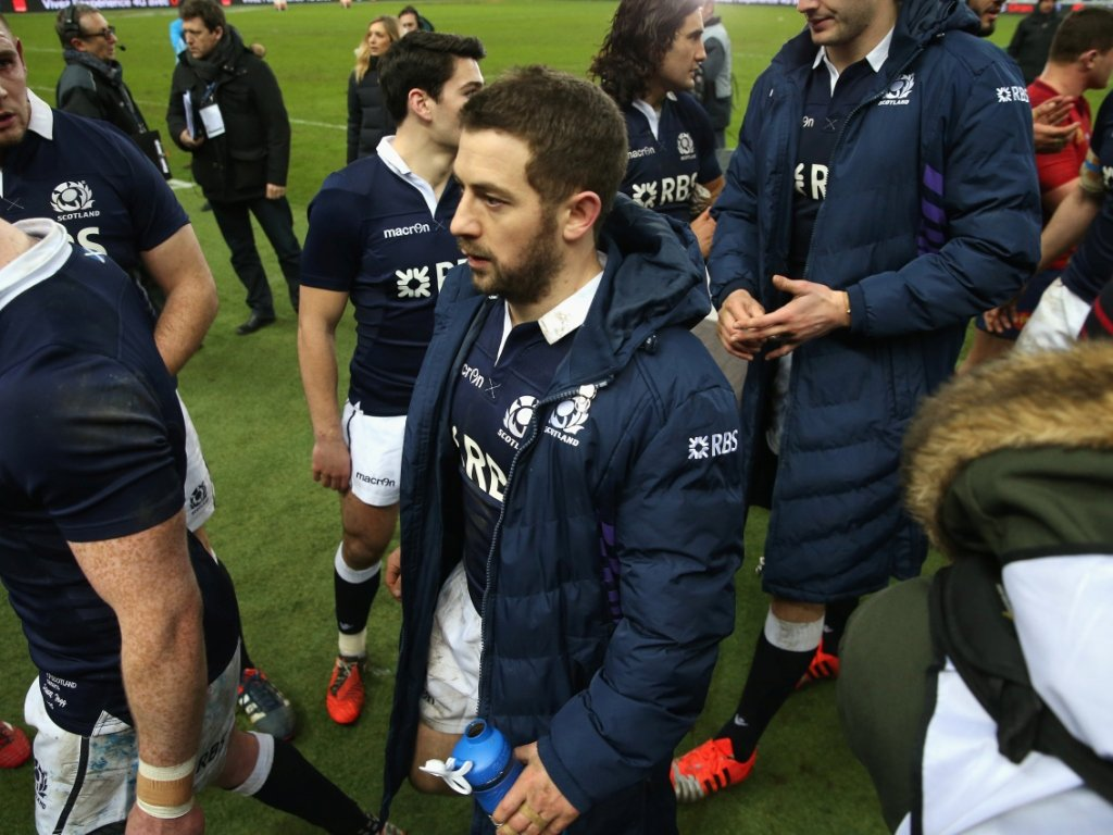 Disappointment: Greig Laidlaw strides off after Scotland's losing run in Paris continued
