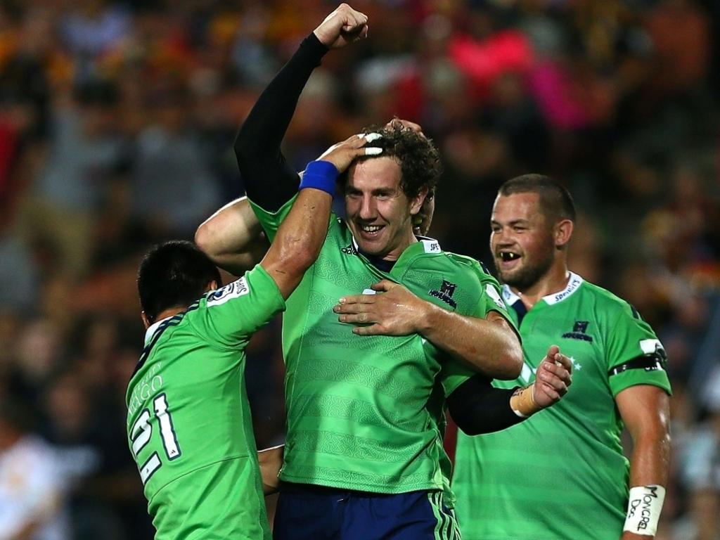 Marty Banks celebrates landing the winning kick